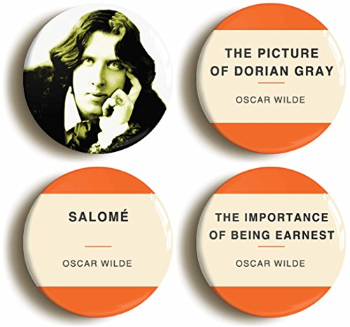 Oscar Wilde Button Pin Set (Size is 1inch Diameter) Picture of Dorian Gray, Salome, Importance of Being Earnest