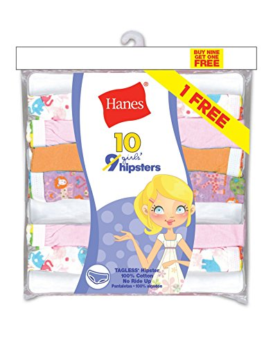 Hanes PAHPP9 Girls ComfortSoft No Ride Up Hipster - Assorted - 8