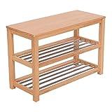 Giantex 3-Tier Wooden Shoe Storage Bench Racks Shelf Organizer Standing Closet Household