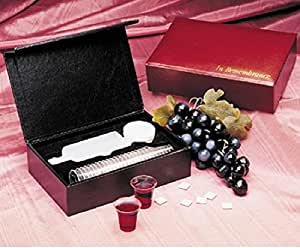 Portable communion set burgundy 24 cups - Amazon porta vino ...