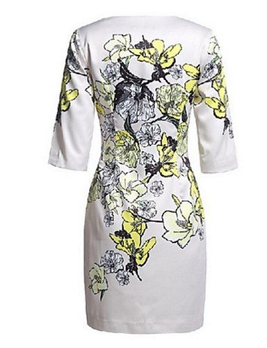 PU&PU Robe Aux femmes Gaine Street Chic,Imprimé Col Arrondi Au dessus du genou Polyester , white-2xl , white-2xl