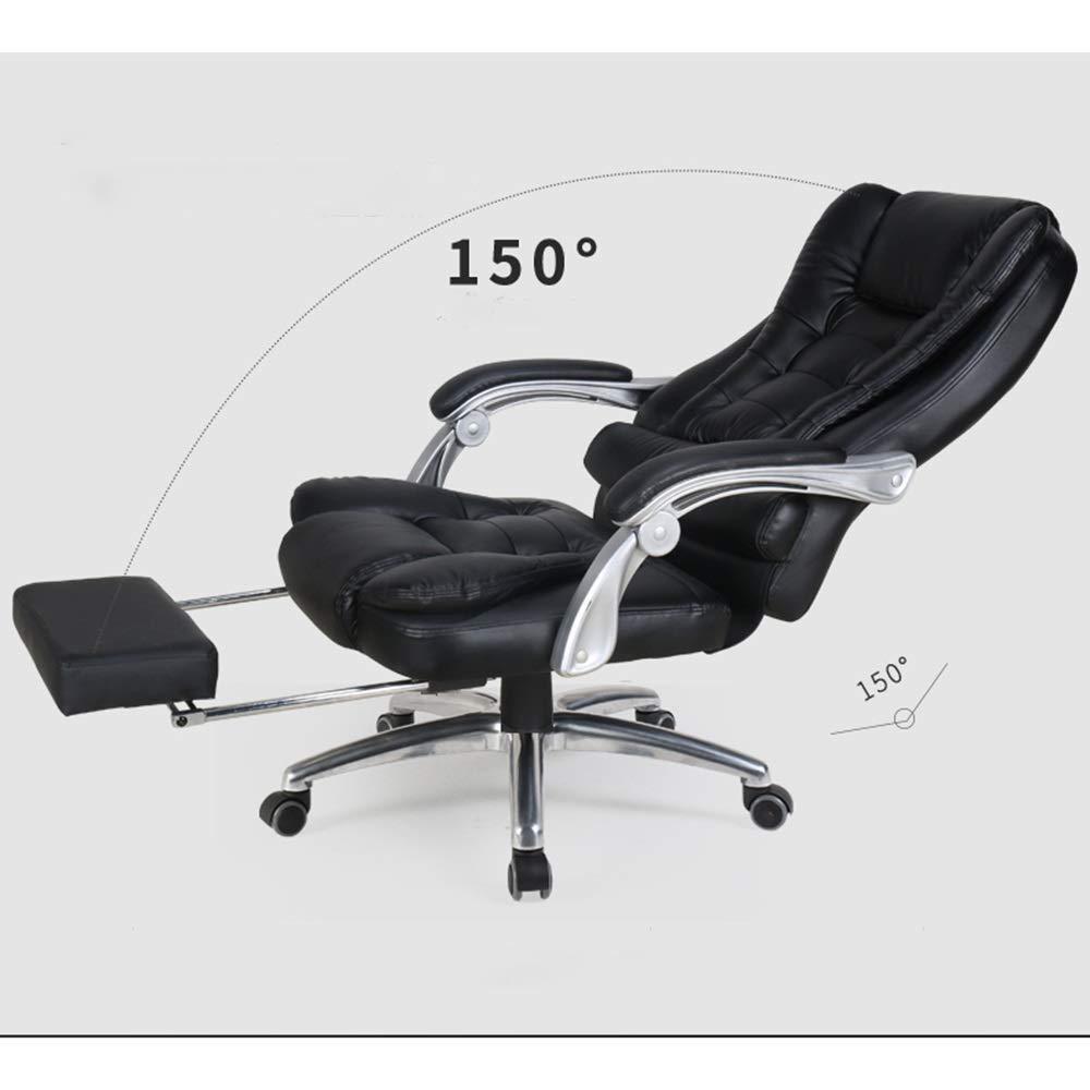 Barstolar Xiuyun datorstol bekväm läder kontorsstol – multifunktionell stol hög densitet tjockt skum service konstgjorda ergonomiska fördelar långt liv läder (färg: Brun) Svart
