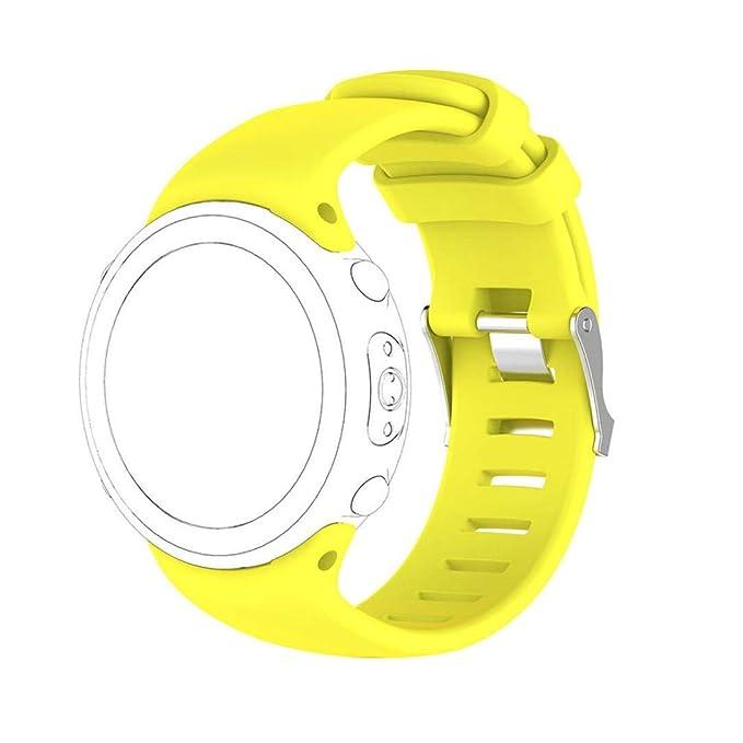 JiaMeng Pulsera de Silicona Wristband Pulsera de Repuesto para Reemplazo de la Correa Soft Band para Suunto D4 / D4i Novo Watch: Amazon.es: Ropa y ...
