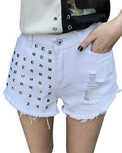 Distressed Donna Shorts Denim Pants Bermuda Pantaloncini Bianco Jeans Hot qq4Bx6Utw