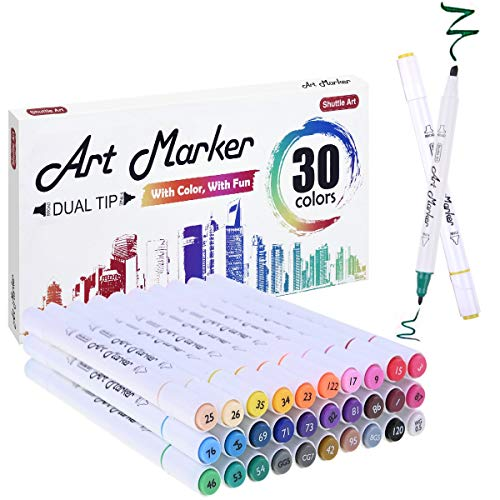 30 Colors Dual Tip Alcohol Based Art Markers,Shuttle Art Alcohol Marker Pens Perfect for Kids Adult Coloring Books Sketching and Card -