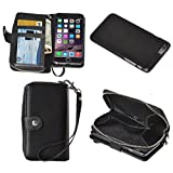 Fone-Stuff iPhone 6 Plus Ladies Purse Wallet Case with Detachable Magnetic Hard Cover with Zipper Pocket and Card Holders in Black + Free Screen Protector