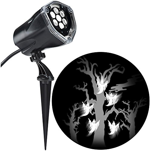 LED Projection Flying White Ghosts with Static Spooky Tree Halloween Spotlight -