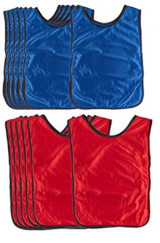 Scrimmage Vests - 12-Pack Soccer Pinnies, Team Jersey, Training Vest, Soccer Scrimmage Vests for Adults Men Women, for Basketball, Football, Volleyball, Red and Blue, Adults Over 180 Lbs ()