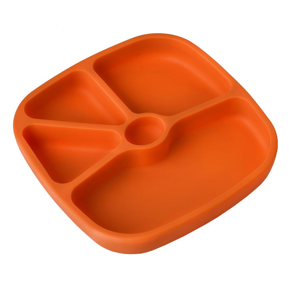 TTLIFE Baby Place-mats Silicone Plates for Toddlers,Kids,Non-Skid Suction Bottom,Baby Trays for Eating, Feeding Tray, BPA Free,Dishwasher Safe + A Portable Bag - Orange