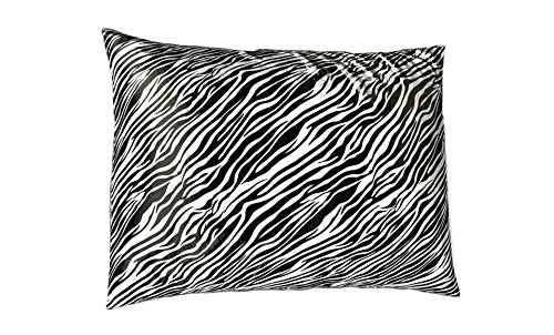 (Shop Bedding Luxury Satin Pillowcase for Hair - Standard Satin Pillowcase with Zipper, Black Zebra Print (1 per Pack) -)