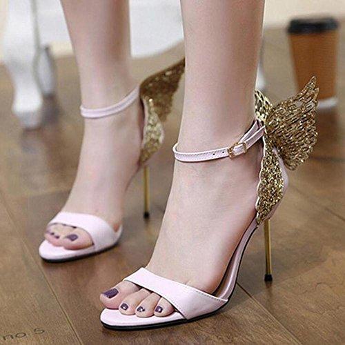 L@YC Mujeres Tacones altos De acero Diamante Mariposa CóModa Palabra Hebilla Vestido Partido Bomba Pink