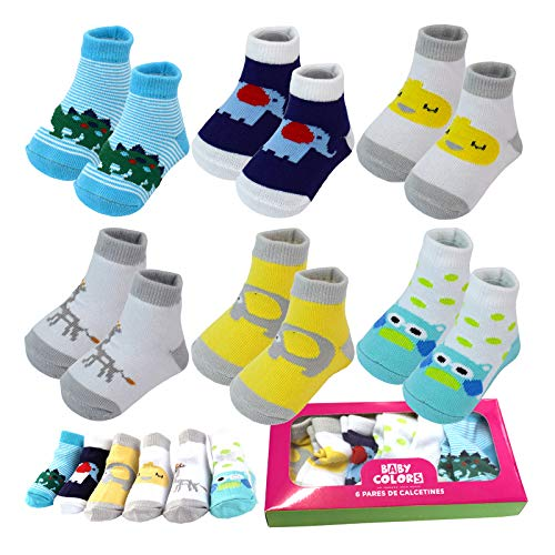 6 Pairs 0-6 month Baby Cotton Newborn Ankle Sock Toddler Crew Walkers Bootie Infant Socks