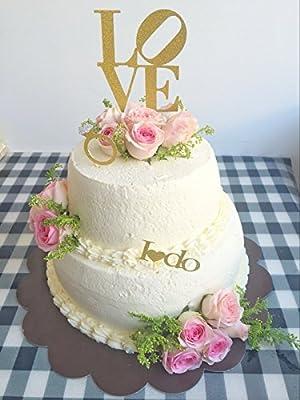 "Gold Glitter Diamond Ring ""LOVE"" ""I do"" Cake Toppers Gold Glitter Cake Bunting Topper - for Engagements Weddings Anniversaries - Set of 5"