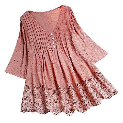 Women Vintage Jacquard Three Quarter Lace V-Neck Plus Size Top T-Shirt Blouse ()