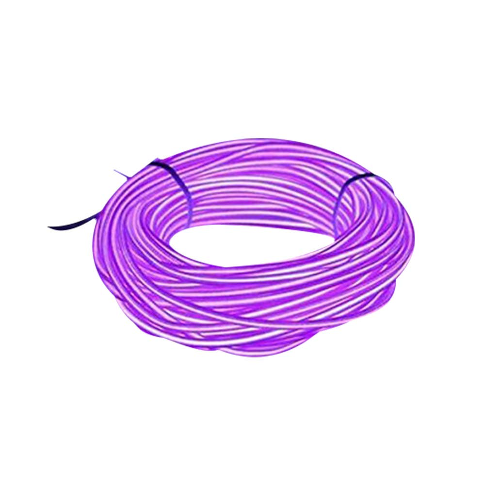 Lysignal 16ft Neon Glowing Strobing Electroluminescent Light Super Bright Battery Operated EL Wire Cable for Cosplay Dress Festival Halloween Christmas Party Carnival Decoration (Purple)