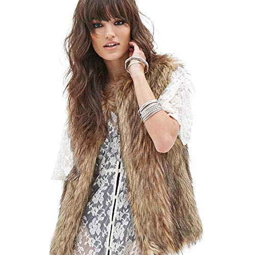 Dikoaina Womens Ladies Fashion Autumn and Winter Warm Short Faux Fur Vests Outwear Jacket (XXXL)