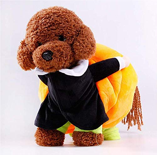 ALEONE Pet Supplies Halloween New Puppy Clothes Move Pumpkin Funny Dog Dress DF (L)]()