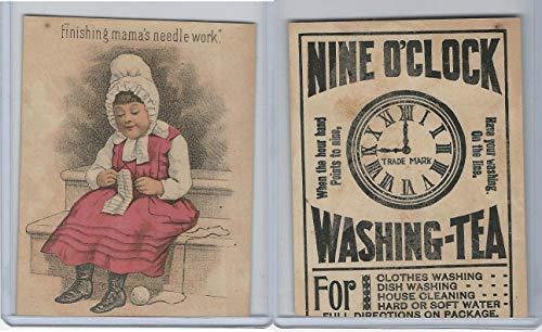 Victorian Card, 1890's, Nine O'Clock Washing Tea, Needle Work