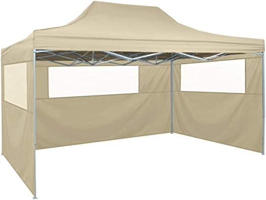Wakects - Carpa plegable de exterior con 3 paneles laterales, 3 x 4,5 m, carpa de jardín, tienda de ceremonia, impermeable, tienda de jardín plegable con cuerdas, beige: Amazon.es: Hogar