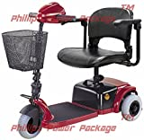 CTM - HS-125 - Lightweight Travel Scooter - 3-Wheel - Burgundy - PHILLIPS POWER PACKAGE TM - TO $500 VALUE