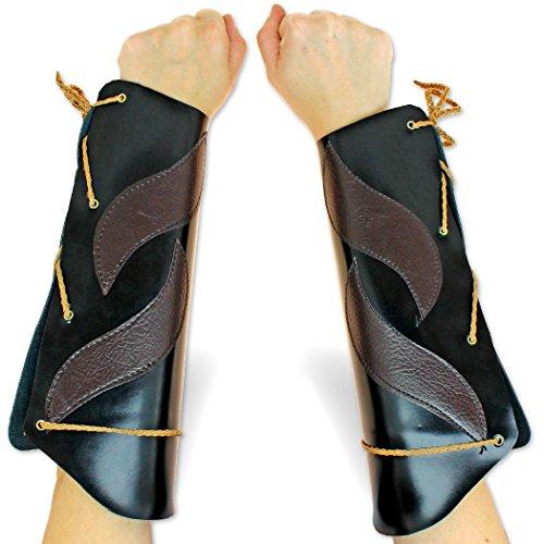 [Elven Windwalker Leather Bracers Pair Cosplay Cordura Armor Forearms] (Renaissance Archer Costumes)