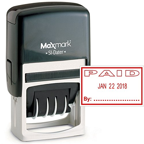 MaxMark Office Date Stamp with Paid Self Inking Date Stamp - RED Ink by MaxMark