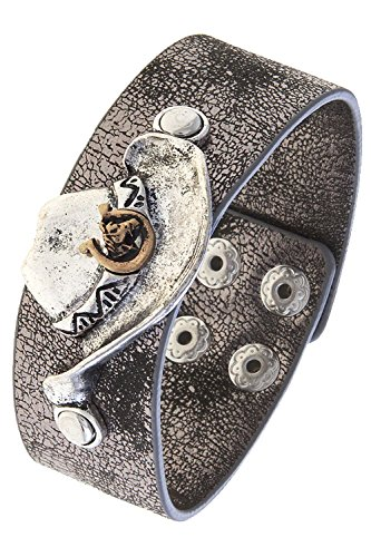 KARMAS CANVAS COWBOY HAT METALLIC FAUX LEATHER CUFF BRACELET (Hematite/Silver)