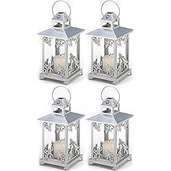 4 Silver Scrollwork Candle Holder Lantern Wedding Centerpieces Decor