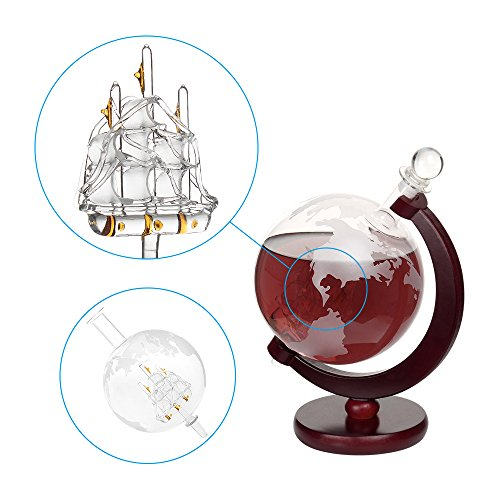 Whiskey Decanter For Spirits Or Wine Decorative Etched World Globe Glass Fiberboard Stand With Crafted Glass Sailing Ship