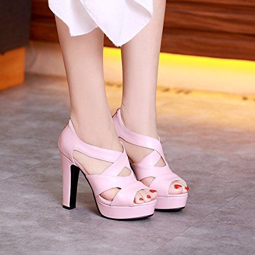 Mode Talons 811 Femmes Pink Sandales Chunky JOJONUNU 5xgq67