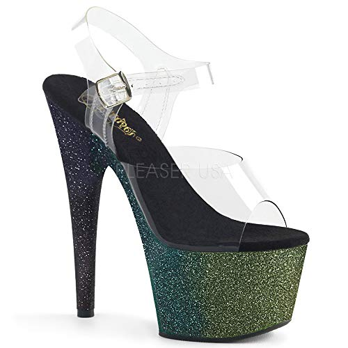7 Inch Heel, 2 3/4 Inch Ombre Glittered Platform Ankle Strap Sandal (Clear/Emerald-Poison-Black Ombre;7)