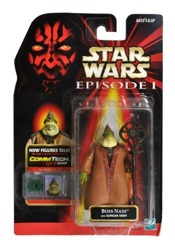 Hasbro Year 1998 Star Wars Episode 1 The Phantom Menace CommTech Series 4 Inch Tall Action Figure - BOSS NASS with Gungan Staff and CommTech Chip (CommTech Reader is not Included) by Star Wars