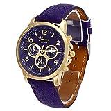 POTO 2017 New Waterproof Unisex Casual Geneva Faux Leather Quartz Analog Wrist Watch Fashion (Purple)