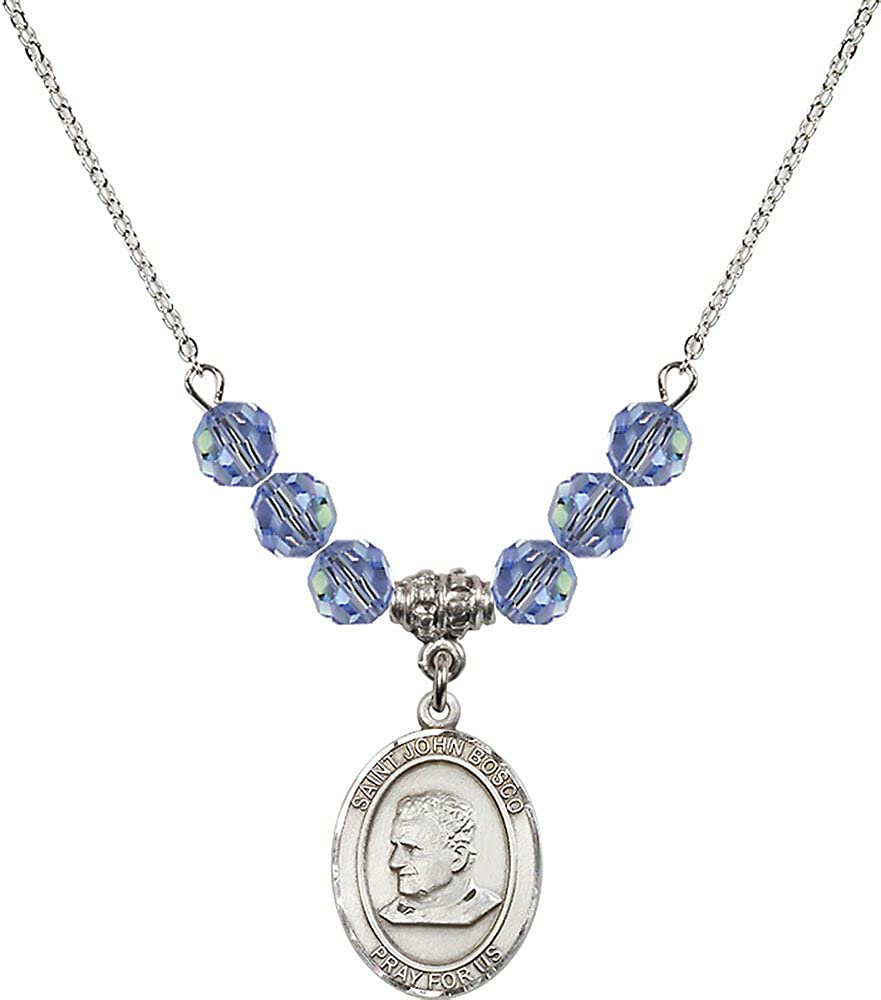 18-Inch Rhodium Plated Necklace with 6mm Light Sapphire Birthstone Beads and Sterling Silver Saint John Bosco Charm.