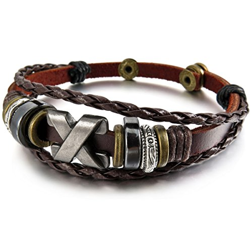 MunkiMix Alliage Genuine Leather Véritable Bracelet Bracelet Menotte Noir Réglable Homme,Femme