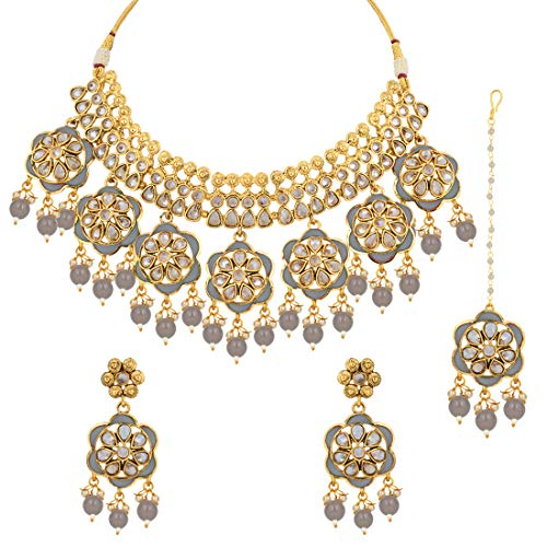 Aheli Indian Traditional Flower Design Crafted Faux Kundan Necklace with Maang Tikka Set Ethnic Fashion Jewelry for Women (Grey)