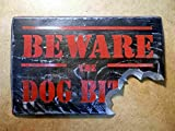 Beware, the Dog Bites | Bite mark Wooden Sign | Distressed iron look