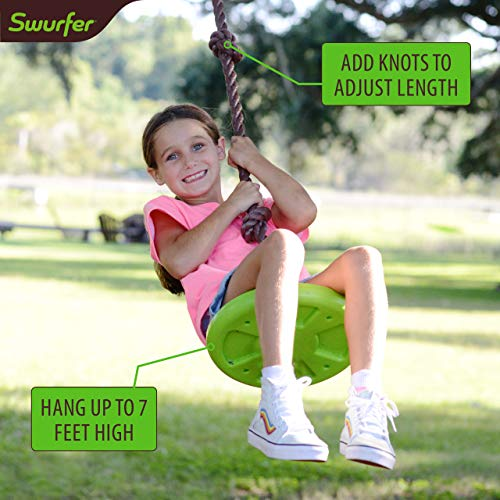 Swurfer Disco - 3-in-1 Multi-Purpose Sit, Stand, & Climb Disc Swing, Heavy Duty Climbing Rope Swing - 6 Foot Rope with Four Adjustable Knots, Holds 200lbs, Ages 6 and Up