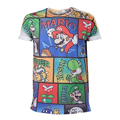 Nintendo - Maglietta da uomo con stampa a fumetti, motivo: Super Mario Bros & Friends, M