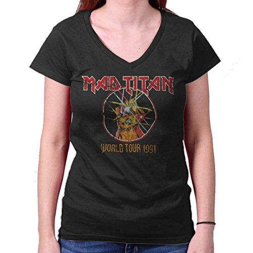 Infinity Tour T-shirt - Mad Titan World Tour Funny Comic Book Nerd Junior Fit V-Neck T Shirt