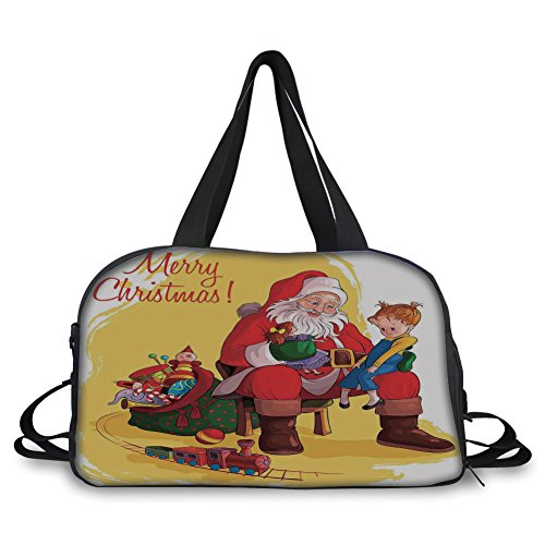 Travelling Bag,Christmas Decorations,Little Child Sitting on Santa Knee with Gifts Doll and Toy Train Kid Decor,Multi - Doll Maclaren