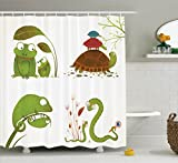 Reptile Decor Shower Curtain Set By Ambesonne, Reptile Family With Colorful Baby Collection Snake Frog Ninja Turtles Love Mother, Bathroom Accessories, 69W X 70L Inches, Green Brown Blue