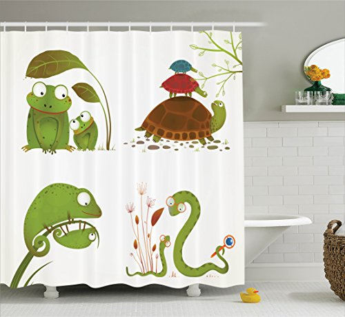Ambesonne Reptile Decor Shower Curtain Set, Reptile Family With Colorful Baby Collection Snake Frog Ninja Turtles Love Mother, Bathroom Accessories, 69W X 70L Inches, Green Brown ()