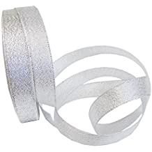 """Hipgirl 25 Yard 1"""" Silver Glitter Metallic Sparkle Fabric Ribbon For Christmas Holiday, Birthday Gift Wrapping, Hair Bow Clips & Card Making, Sewing, Wedding Decor, Boy Girl Baby Shower, Floral Design"""