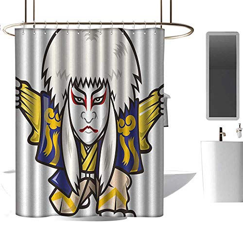 Qenuan Shower Curtain Liner Kabuki Mask,Character with Kimono Costume Orient Elements Edo Era Arts Theater Play Print,Multicolor,Durable Waterproof Fabric Bathroom Curtain 54
