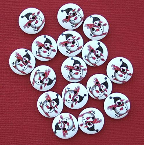 (20 Snowman Buttons Painted Wood Snowman on Skiis 15mm BUT230 ODSF-8324)