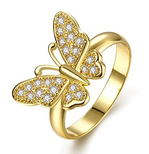 PSRINGS White Enamel Butterfly Ring Rose Gold Plated Elet Austrian Crystal Wide Ring gold rings 7.0 Austrian Crystal Butterfly Ring