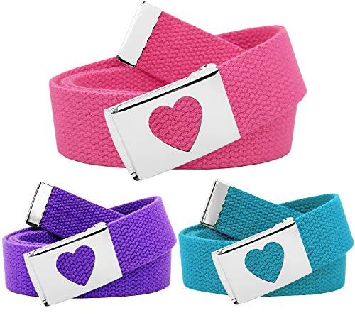 Girl's School Uniform 3 Pack Silver Flip Top Heart Belt Buckle Canvas Web Belt Medium Pink, Purple, Teal