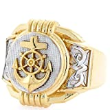 10k Two Tone Gold Anchor Navy Round Fancy Mens Ring