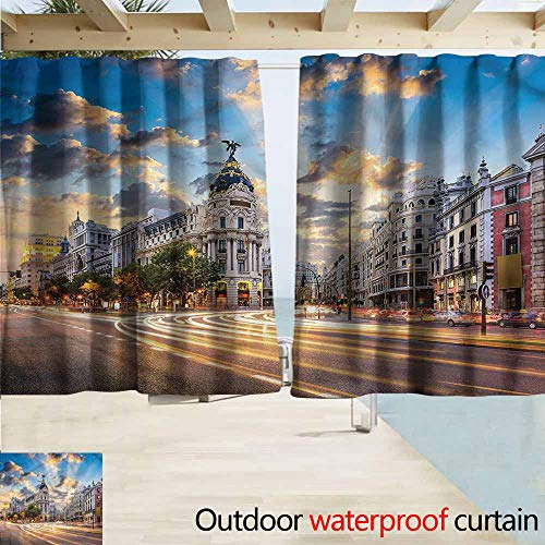- Window Curtains European Modern Madrid Street View Rod Pocket Energy Efficient Thermal Insulated W55x39L Inches